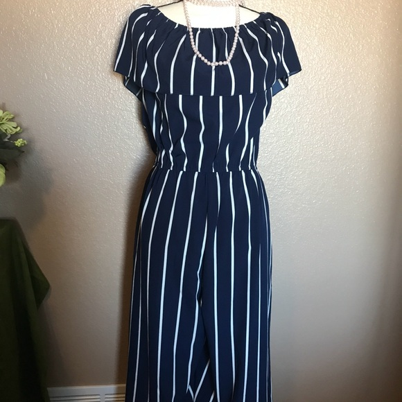 f2093720e07 Navy and white striped jumpsuit.